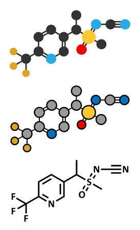 fluorine: Sulfoxaflor insecticide molecule. Stylized 2D renderings and conventional skeletal formula.