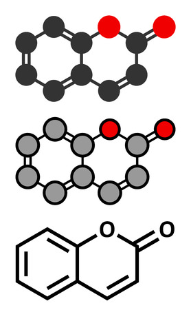 woodruff: Coumarin herbal fragrant molecule. Responsible for the scent new-mown hay. Stylized 2D renderings and conventional skeletal formula. Illustration