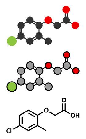 herbicide: MCPA (2-methyl-4-chlorophenoxyacetic acid) herbicide molecule. Stylized 2D renderings and conventional skeletal formula.