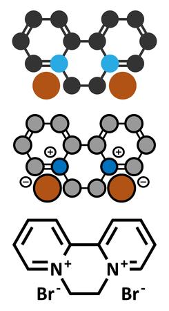 herbicide: Diquat dibromide contact herbicide molecule. Stylized 2D renderings and conventional skeletal formula. Illustration