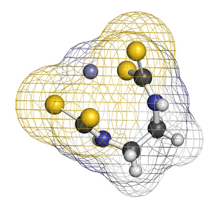 fungicide: Zineb zinc organosulfur fungicide molecule. 3D rendering. Atoms are represented as spheres with conventional color coding: hydrogen (white), carbon (grey), nitrogen (blue), sulfur (yellow), zinc (blue-grey). Stock Photo