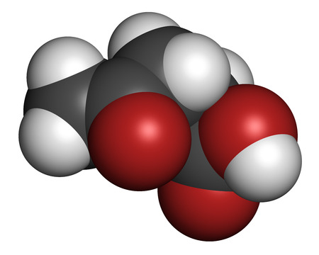 precursor: Levulinic acid molecule. Made by degradation of cellulose, potential precursor to biofuels. 3D rendering. Atoms are represented as spheres with conventional color coding: hydrogen (white), carbon (grey), oxygen (red).