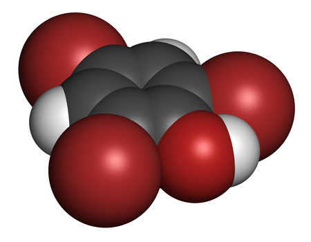 fungicide: Tribromophenol (TBP, 2,4,6-Tribromophenol) molecule. Used as fungicide and wood preservative; 3D rendering. Atoms are represented as spheres with conventional color coding: hydrogen (white), carbon (grey), oxygen (red), bromine (brown). Stock Photo