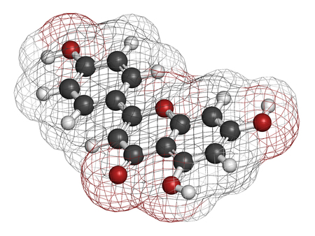 celeriac: Apigenin yellow herbal dye molecule. 3D rendering. Atoms are represented as spheres with conventional color coding: hydrogen (white), carbon (grey), oxygen (red). Stock Photo