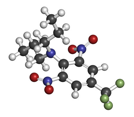 fluorine: Trifluralin herbicide molecule. 3D rendering. Atoms are represented as spheres with conventional color coding: hydrogen (white), carbon (grey), nitrogen (blue), oxygen (red), fluorine (light green).