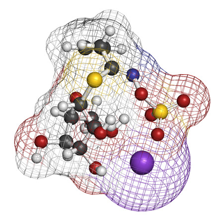 pungency: Sinigrin glucosinolate molecule. Present in some cruciferous vegetables (Brussels sprouts, broccoli, black mustard, etc). 3D rendering. Atoms are represented as spheres with conventional color coding: hydrogen (white), carbon (grey), oxygen (red), nitroge