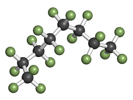 octane: Perfluorooctane molecule. 3D rendering. Atoms are represented as spheres with conventional color coding: hydrogen (white), carbon (grey), fluorine (light green).
