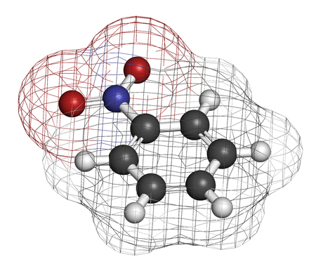 benzene: Nitrobenzene solvent molecule. 3D rendering. Atoms are represented as spheres with conventional color coding: hydrogen (white), carbon (grey), oxygen (red), nitrogen (blue).