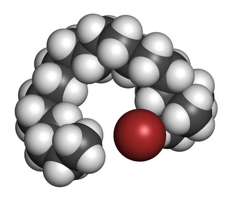nitrogen: Cetrimonium bromide antiseptic surfactant molecule. 3D rendering. Atoms are represented as spheres with conventional color coding: hydrogen (white), carbon (grey), nitrogen (blue), bromine (brown).