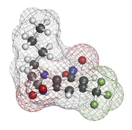 inhibition: Benfluralin herbicide molecule. 3D rendering. Atoms are represented as spheres with conventional color coding: hydrogen (white), carbon (grey), oxygen (red), nitrogen (blue), fluorine (light green). Stock Photo