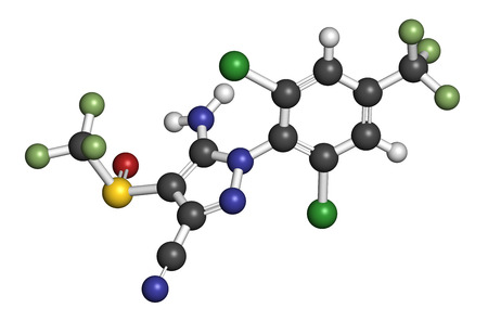 fluorine: Fipronil insecticide molecule. 3D rendering. Atoms are represented as spheres with conventional color coding: hydrogen (white), carbon (grey), oxygen (red), nitrogen (blue), chlorine (green), fluorine (light green), sulfur (yellow).