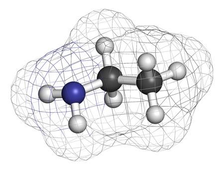 amoniaco: molécula de base orgánica etilamina. representación 3D. Los átomos se representan como esferas con codificación de colores convencionales: hidrógeno (blanco), carbono (gris), nitrógeno (azul). Foto de archivo