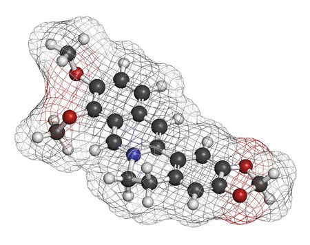 ammonium: Berberine herbal medicine molecule. 3D rendering. Atoms are represented as spheres with conventional color coding: hydrogen (white), carbon (grey), nitrogen (blue), oxygen (red).
