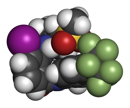fluorine: flubendiamide insecticide molecule (ryanoid class). 3D rendering. Atoms are represented as spheres with conventional color coding: hydrogen (white), carbon (grey), oxygen (red), nitrogen (blue), iodine (purple), sulfur (yellow), oxygen (red), fluorine (li Stock Photo