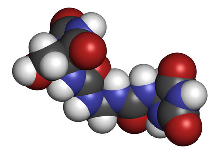 urea: Imidazolidinyl urea antimicrobial preservative molecule (formaldehyde releaser). 3D rendering. Atoms are represented as spheres with conventional color coding: hydrogen (white), carbon (grey), oxygen (red), nitrogen (blue).