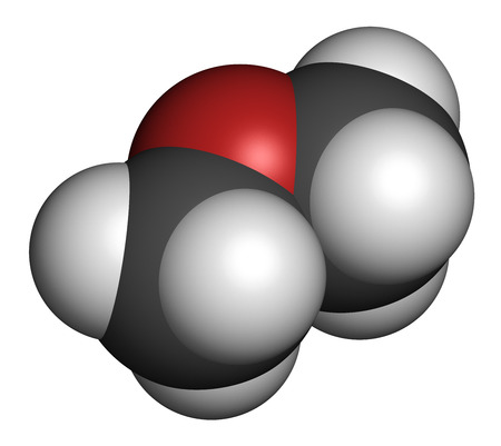 feedstock: Dimethyl ether (methoxymethane, DME) molecule. 3D rendering. Atoms are represented as spheres with conventional color coding: hydrogen (white), carbon (grey), oxygen (red). Stock Photo