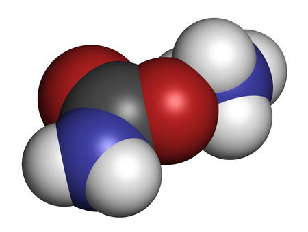 amoniaco: Ammonium carbamate, chemical structure. 3D rendering. Atoms are represented as spheres with conventional color coding: hydrogen (white), carbon (grey), oxygen (red), nitrogen (blue).