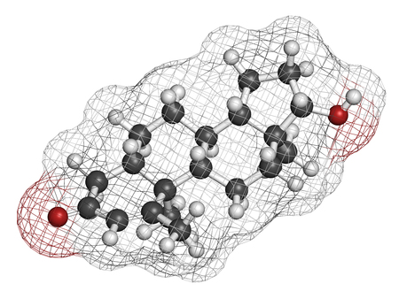 3d carbon: Metenolone anabolic steroid molecule. Used (banned) in sports doping. 3D rendering. Atoms are represented as spheres with conventional color coding: hydrogen (white), carbon (grey), oxygen (red).
