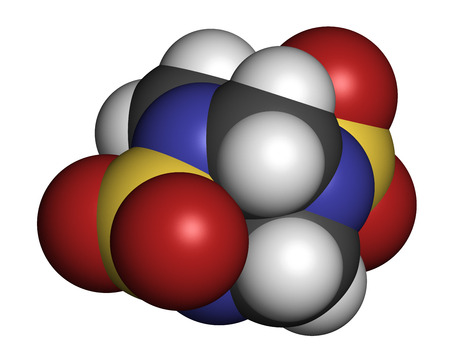 nitrogen: Tetramethylenedisulfotetramine (TETS) rodenticide molecule. 3D rendering. Atoms are represented as spheres with conventional color coding: hydrogen (white), carbon (grey), nitrogen (blue), oxygen (red), sulfur (yellow).