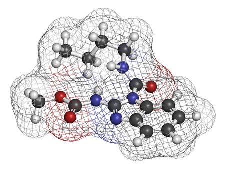 fungicide: Benomyl fungicide molecule. 3D rendering. Atoms are represented as spheres with conventional color coding: hydrogen (white), carbon (grey), oxygen (red), nitrogen (blue).