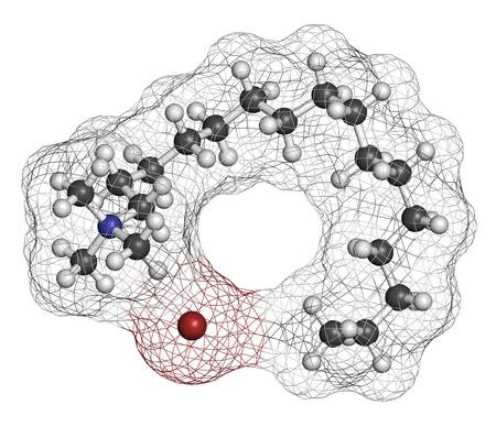 hidrogeno: bromuro de cetrimonio mol�cula de tensioactivo antis�ptico. representaci�n 3D. Los �tomos se representan como esferas con codificaci�n de colores convencionales: hidr�geno (blanco), carbono (gris), nitr�geno (azul), bromo (marr�n). Foto de archivo