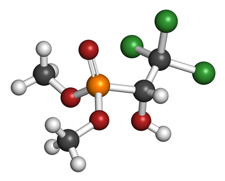 acetylcholinesterase: Metrifonate (trichlorfon) insecticide molecule. 3D rendering. Atoms are represented as spheres with conventional color coding: hydrogen (white), carbon (grey), oxygen (red),  chlorine (green), phosphorus (orange). Stock Photo