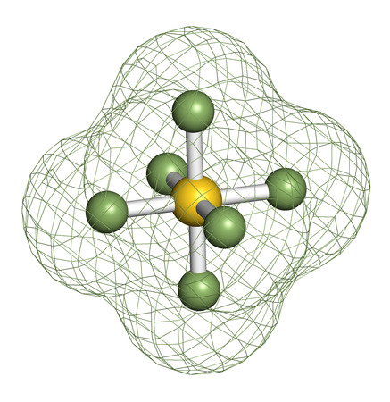 fluorine: sulfur hexafluoride gas insulator molecule. Microbubbles are used as contrast agent for ultrasound imaging. Potent greenhouse gas. 3D rendering. Atoms are represented as spheres with conventional color coding: sulfur (yellow), fluorine (light green).