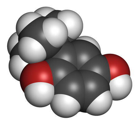 tertiary: TBHQ (tert-Butylhydroquinone) antioxidant preservative molecule. 3D rendering. Atoms are represented as spheres with conventional color coding: hydrogen (white), carbon (grey), oxygen (red).