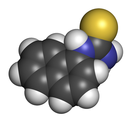 3d carbon: Alpha-naphthylthiourea (ANTU) rodenticide molecule. 3D rendering. Atoms are represented as spheres with conventional color coding: hydrogen (white), carbon (grey), nitrogen (blue), sulfur (yellow). Stock Photo
