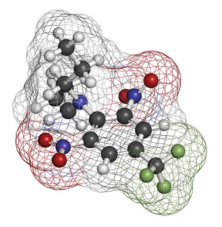 3d nitrogen: Trifluralin herbicide molecule. 3D rendering. Atoms are represented as spheres with conventional color coding: hydrogen (white), carbon (grey), nitrogen (blue), oxygen (red), fluorine (light green).