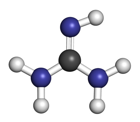 3d nitrogen: Guanidine molecule. 3D rendering. Atoms are represented as spheres with conventional color coding: hydrogen (white), carbon (grey), nitrogen (blue).