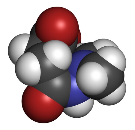 regulator: Daminozide (Alar) plant growth regulator molecule. Has been banned because of carcinogenicity concerns. 3D rendering. Atoms are represented as spheres with conventional color coding: hydrogen (white), carbon (grey), oxygen (red), nitrogen (blue).