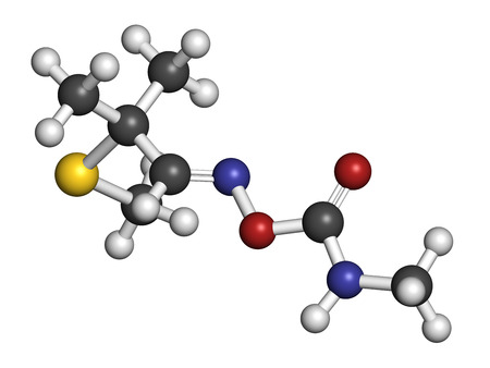 3d nitrogen: Aldicarb pesticide molecule. 3D rendering. Atoms are represented as spheres with conventional color coding: hydrogen (white), carbon (grey), oxygen (red), nitrogen (blue), sulfur (yellow). Stock Photo