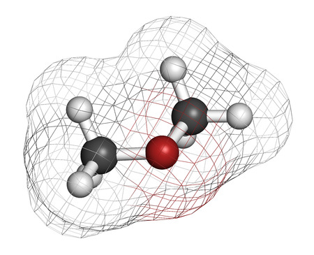 wart: Dimethyl ether (methoxymethane, DME) molecule. 3D rendering. Atoms are represented as spheres with conventional color coding: hydrogen (white), carbon (grey), oxygen (red). Stock Photo