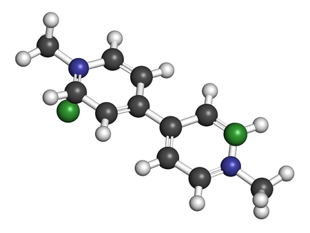 hidr�geno: Paraquat herbicide molecule 3D rendering. Atoms are represented as spheres with conventional color coding: hydrogen (white), carbon (grey), nitrogen (blue).