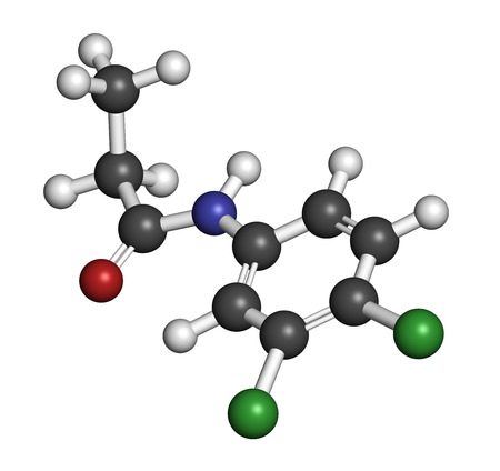 3d nitrogen: Propanil herbicide molecule. 3D rendering. Atoms are represented as spheres with conventional color coding: hydrogen (white), carbon (grey), nitrogen (blue), oxygen (red), chlorine (green). Stock Photo