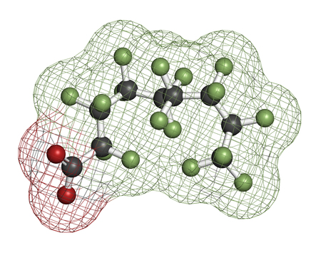 fluorine: Perfluorononanoic acid (PFNA, perfluorononanoate) surfactant molecule. 3D rendering. Atoms are represented as spheres with conventional color coding: hydrogen (white), carbon (grey), oxygen (red), fluorine (light green).