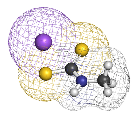 sodium: Metam sodium pesticide molecule. 3D rendering. Atoms are represented as spheres with conventional color coding: hydrogen (white), carbon (grey), nitrogen (blue), sulfur (yellow), sodium (purple).