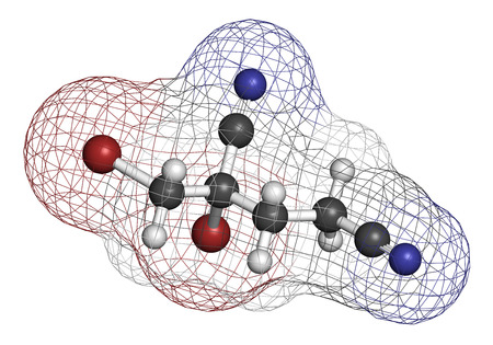 allergen: Methyldibromo glutaronitrile preservative molecule. Common allergen causing allergic contact dermatitis. 3D rendering. Atoms are represented as spheres with conventional color coding: hydrogen (white), carbon (grey), nitrogen (blue), bromine (brown).