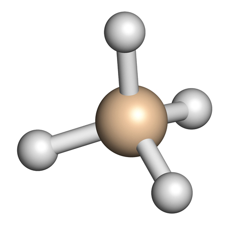 Silane (SiH4) molecule. 3D rendering. Atoms are represented as spheres with conventional color coding: silicon (beige), hydrogen (white).