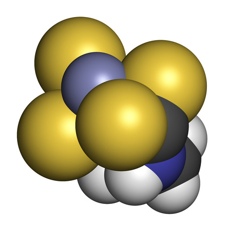3d carbon: Zineb zinc organosulfur fungicide molecule. 3D rendering. Atoms are represented as spheres with conventional color coding: hydrogen (white), carbon (grey), nitrogen (blue), sulfur (yellow), zinc (blue-grey). Stock Photo