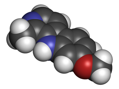 oxidase: Harmine alkaloid molecule. Herbal inhibitor of monoamine oxidase A. (MAO-A). 3D rendering. Atoms are represented as spheres with conventional color coding: hydrogen (white), carbon (grey), oxygen (red), nitrogen (blue). Stock Photo