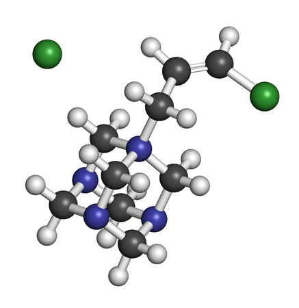 preservative: Quaternium-15 surfactant and preservative molecule (formaldehyde releaser). 3D rendering. Atoms are represented as spheres with conventional color coding: hydrogen (white), carbon (grey), nitrogen (blue), chlorine (green). Stock Photo