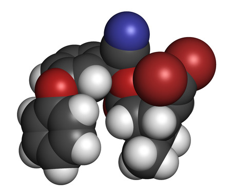 3d carbon: Deltamethrin insecticide molecule (synthetic pyrethroid). 3D rendering. Atoms are represented as spheres with conventional color coding: hydrogen (white), carbon (grey), oxygen (red), nitrogen (blue), bromine (brown). Stock Photo