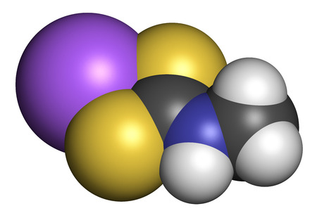 3d nitrogen: Metam sodium pesticide molecule. 3D rendering. Atoms are represented as spheres with conventional color coding: hydrogen (white), carbon (grey), nitrogen (blue), sulfur (yellow), sodium (purple).