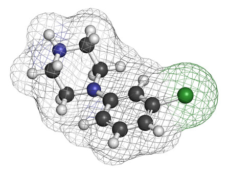 psychoactive: Meta-chlorophenylpiperazine (mCPP) psychoactive drug molecule. 3D rendering. Atoms are represented as spheres with conventional color coding: hydrogen (white), carbon (grey), nitrogen (blue), nitrogen (blue), chlorine (green).