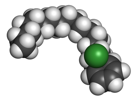 3d nitrogen: Cetylpyridinium chloride antiseptic molecule. 3D rendering. Atoms are represented as spheres with conventional color coding: hydrogen (white), carbon (grey), nitrogen (blue), chlorine (green).
