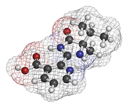 3d carbon: Imazapyr herbicide molecule. 3D rendering. Atoms are represented as spheres with conventional color coding: hydrogen (white), carbon (grey), nitrogen (blue), oxygen (red). Stock Photo