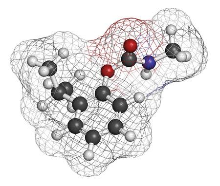 hidrogeno: mol�cula insecticida isoprocarb. representaci�n 3D. Los �tomos se representan como esferas con codificaci�n de colores convencionales: hidr�geno (blanco), carbono (gris), ox�geno (rojo), nitr�geno (azul). Foto de archivo