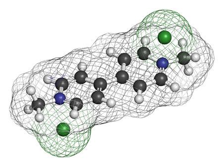 3d nitrogen: Paraquat herbicide molecule 3D rendering. Atoms are represented as spheres with conventional color coding: hydrogen (white), carbon (grey), nitrogen (blue).